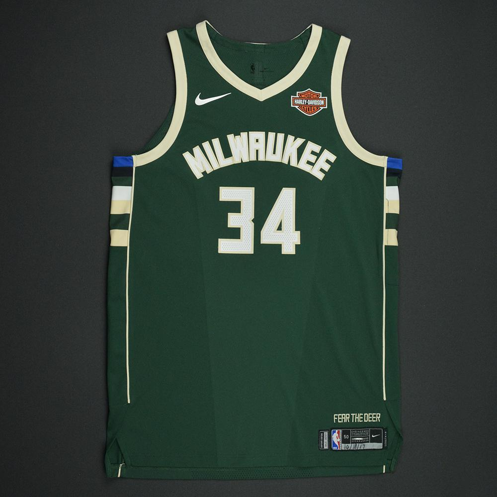 Giannis Antetokounmpo - Milwaukee Bucks - Kia NBA Tip-Off 2017 - Game-Worn Jersey - Double-Double