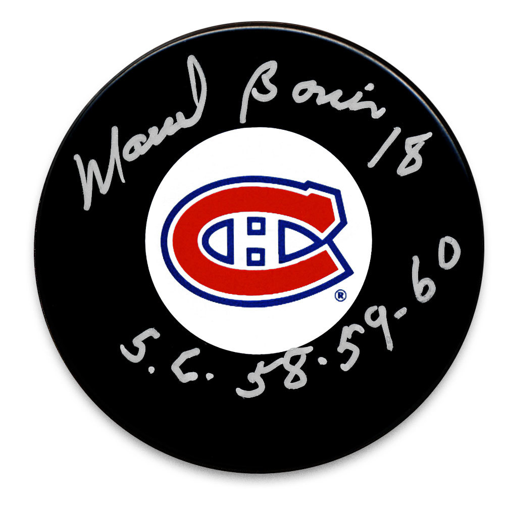 Marcel Bonin Montreal Canadiens SC Years Autographed Puck