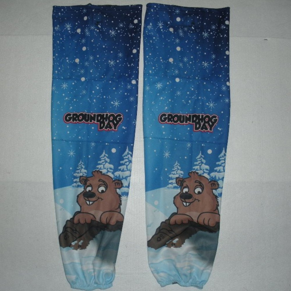 Chay Genoway - Hershey Bears - Groundhog Day Warmup-Worn Socks