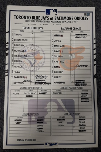 Photo of Authenticated Game Used Lineup Card - April 3, 2017 vs Baltimore Orioles. This was Opening Day for the Blue Jays. The Blue Jays lost 3-2 in extra innings. Trumbo had a Walkoff Home Run.
