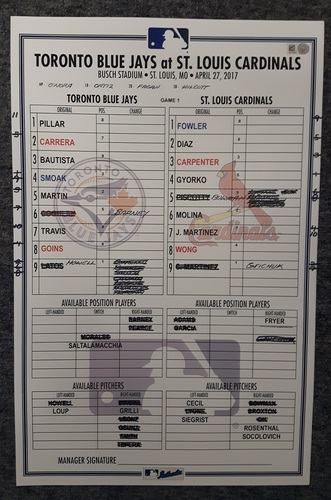Photo of Authenticated Game Used Lineup Card - April 27, 2017 vs STL: 1st Game of Doubleheader, Matt Carpenter Walkoff Grand Slam
