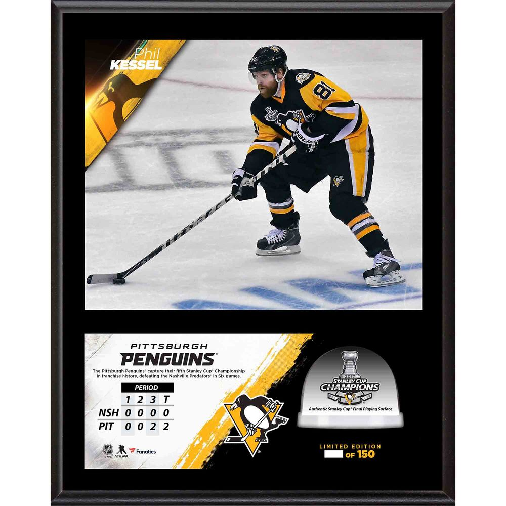 Phil Kessel Penguins 2017 Stanley Cup Champions 12'' x 15'' Sublimated Plaque with Game-Used Ice from the Stanley Cup Final - #1 of a L.E. of 100