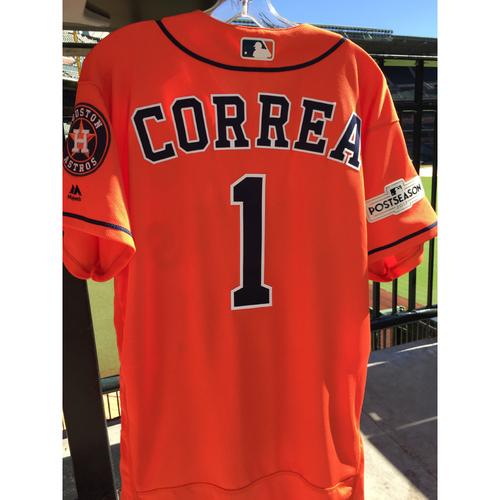 Photo of ALCS Game 4 Carlos Correa Game-Used Orange Jersey