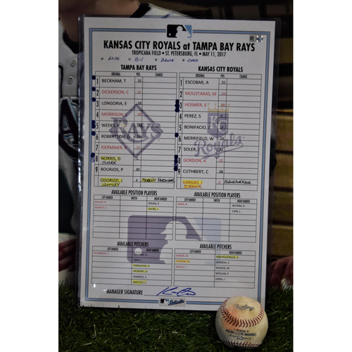 Photo of Line Up Card - May 11, 2017 - Rays (0) v Royals (6)