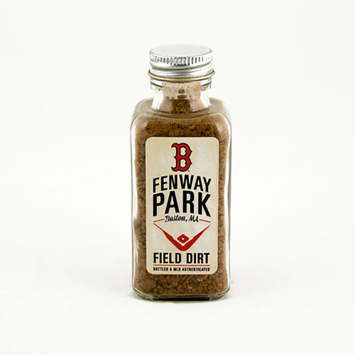 Photo of Bottle of Red Sox Fenway Park Game-Used Dirt