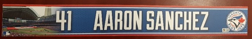 Photo of Authenticated Game Used Locker Name Plate - #41 Aaron Sanchez (2015 Season)