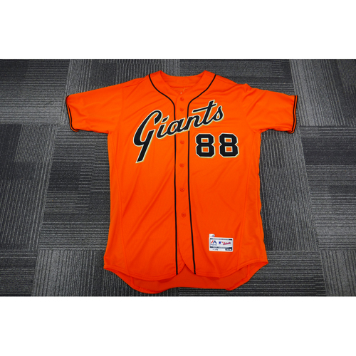 Photo of San Francisco Giants - 2017 Game-Used Orange Alt Jersey - worn by #88 Eli Whiteside on 9/29/17 - (Size: 48)