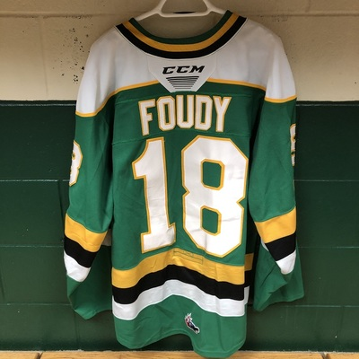 Liam Foudy 2019-2020 Green Game Jersey