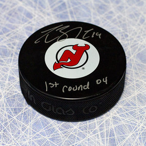 Travis Zajac New Jersey Devils Autographed Puck with 1st Round 2004 note