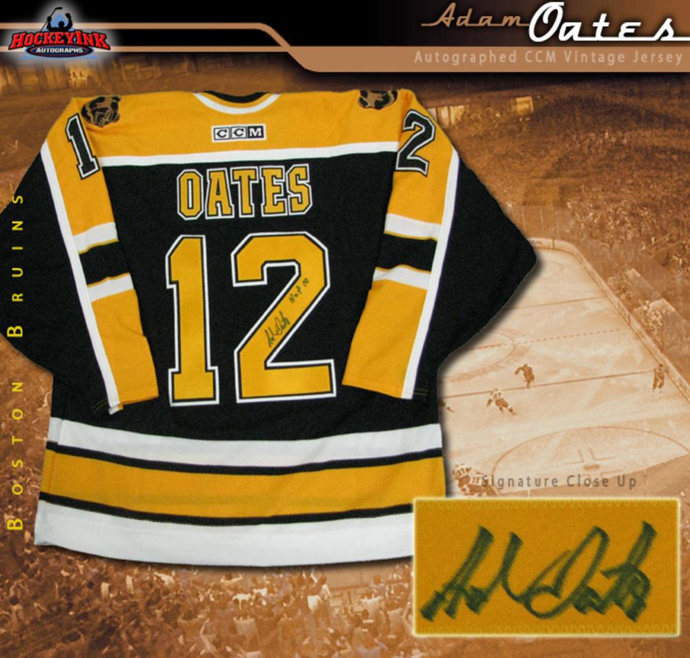 ADAM OATES Signed Boston Bruins Black CCM Jersey Ins. HOF