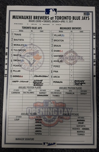 Photo of Authenticated Game Used Lineup Card - April 11, 2017 vs Milwaukee Brewers. This was the 41st Home Opener for the Blue Jays. The Blue Jays lost 4-3 to the Brewers.