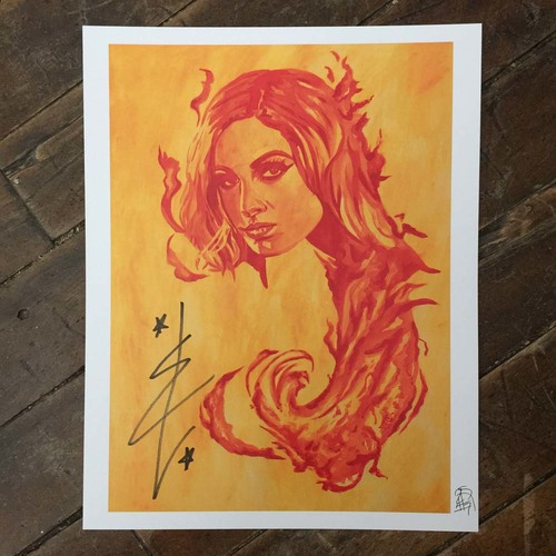 Becky Lynch SIGNED 11 x 14 Rob Schamberger Print