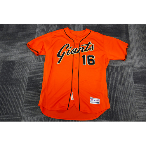 Photo of San Francisco Giants - 2017  Game-Used Orange Alt Jersey - worn by #16 Phil Nevin on 9/29/17 - (Size: 54)