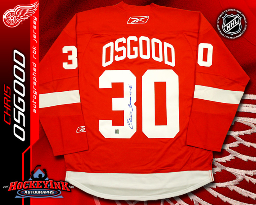 CHRIS OSGOOD Signed RBK Premier Red Detroit Red Wings Jersey