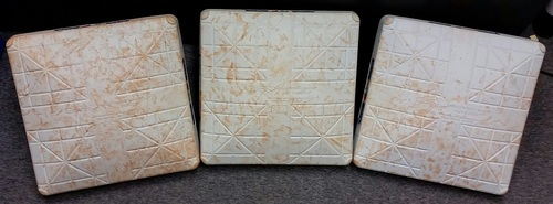 Photo of Authenticated Game Used Set of Bases from June 9, 2015 vs Miami Marlins - Used Innings 1-5.   Giancarlo Stanton HR game.