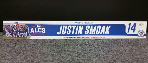 Photo of Authenticated Game Used 2016 ALCS Locker Tag - #14 Justin Smoak