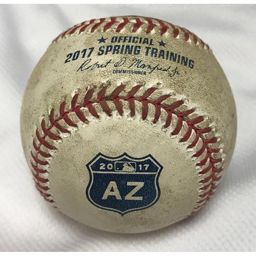 Photo of 2017 Spring Training Game-Used Baseball - Ray vs. Moustakas