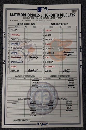 Photo of Authenticated Game Used Lineup Card - April 15, 2017 vs Baltimore Orioles. This was Jackie Robinson Day. The Blue Jays won 2-1. Kendrys Morales had a Walkoff Home Run from Toronto in the 9th.