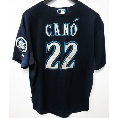 Photo of Robinson Cano Navy Autographed Team-Issued Jersey 2015 Size 48