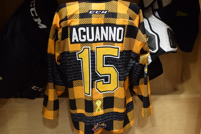 #15 Anthony Aguanno Kingston Frontenacs Hockey Fights Cancer Plaid Jersey