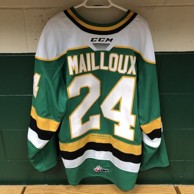 Logan Mailloux 2019-2020 Green Game Jersey