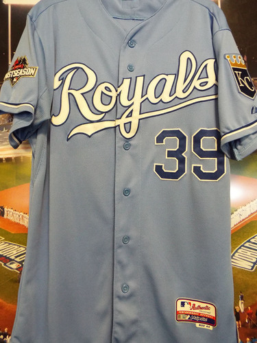 Photo of Club Issued Kris Medlen Powder Blue 2015 Postseason Jersey
