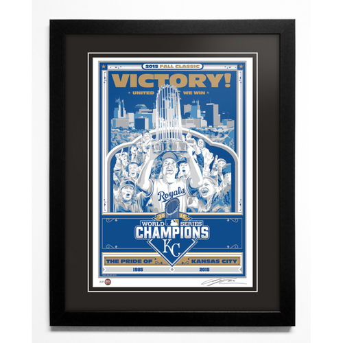 2015 Kansas City Royals World Series Champions Handmade Serigraph, Artist Proof, Signed by Artist & Framed