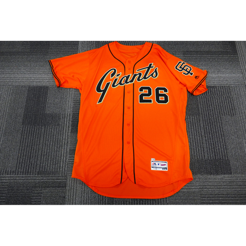 Photo of San Francisco Giants - 2017 Game-Used Orange Alt Jersey - worn by #26 Mark Gardner on 9/29/17 - (Size: 50)