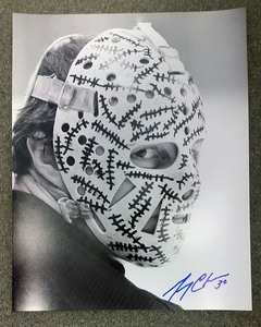 Gerry Cheevers Boston Bruins Autographed Black & White Mask Close Up 11x14 Photo
