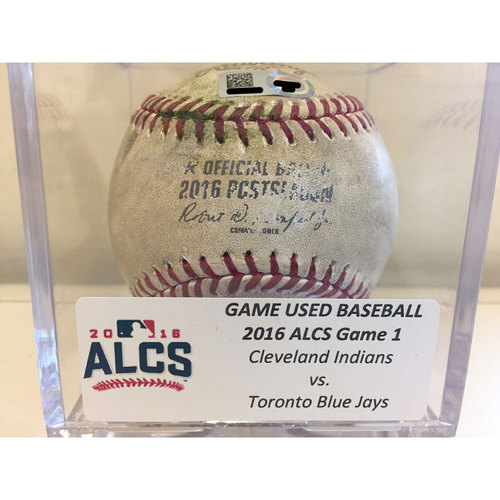 Photo of 2016 ALCS Game 1: Blue Jays vs. Indians - Game-Used Baseball: Corey Kluber to Edwin Encarnacion, Double - Top 1