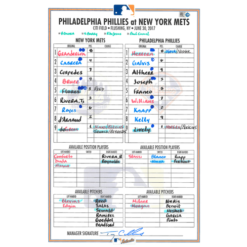 Photo of Game Used Lineup Card - deGrom Start - Earns 8th Win of 2017; 7 IP, 3 H, 1 R, 12 K - Mets Win 2-1 - Mets vs. Phillies - 6/30/17
