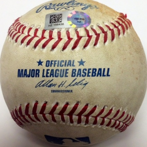 Photo of Game Used Baseball: Jarred Cosart pitching to Freddie Freeman Wild Pitch (6/26/14)