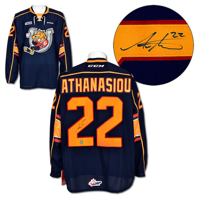 Andreas Athanasiou Barrie Colts Autographed CCM Premier CHL Hockey Jersey