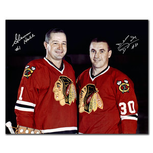 Glenn Hall & Denis Dejordy Chicago Blackhawks Dual Autographed 8x10