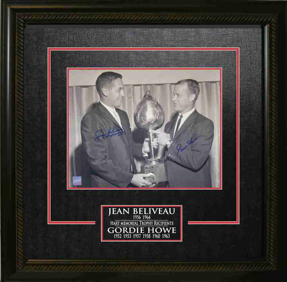 Gordie Howe and Jean Beliveau Dual-Signed Hart Trophy