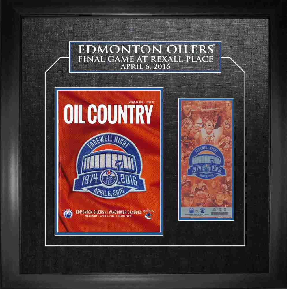 Edmonton Oilers - Framed Rexall Place Final Game Program and Ticket