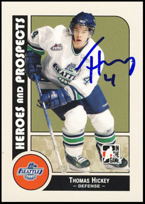 THOMAS HICKEY Seattle CHL SIGNED Pre-Rookie Card *New York Islanders*