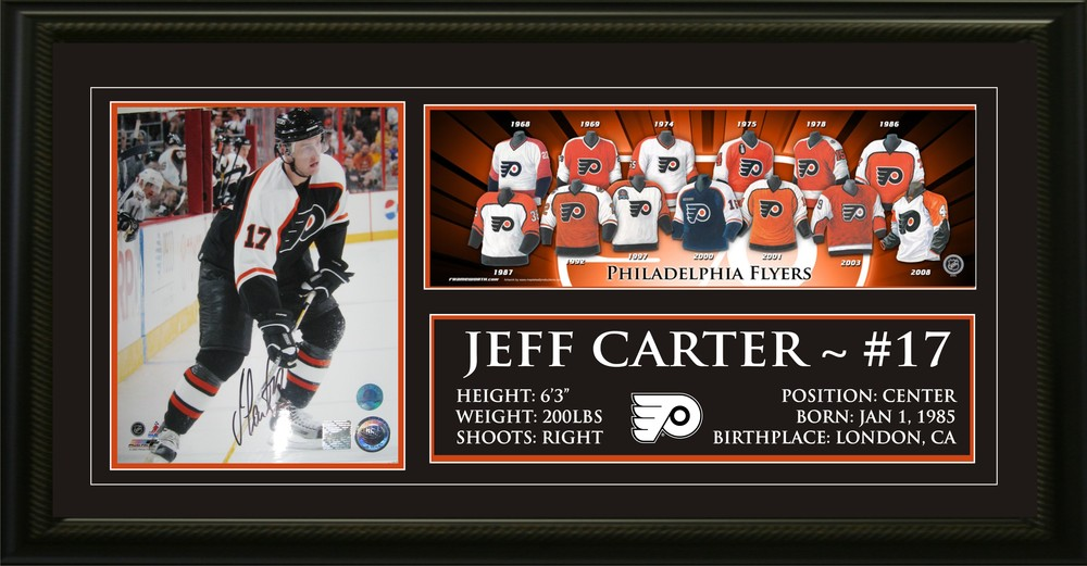 Jeff Carter Signed 8x10 with 5x15 Jersey Print