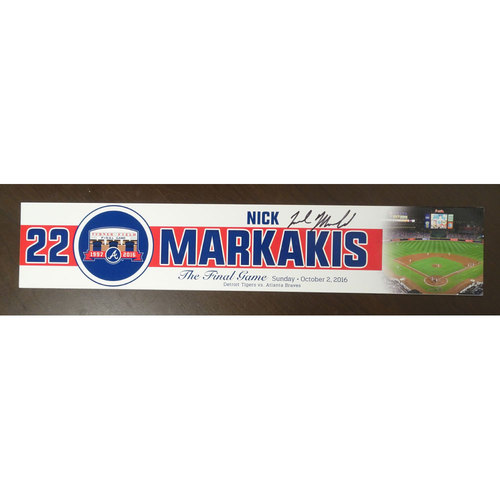 Photo of Nick Markakis Game-Used and Autographed Locker Nameplate used for the Final Game at Turner Field