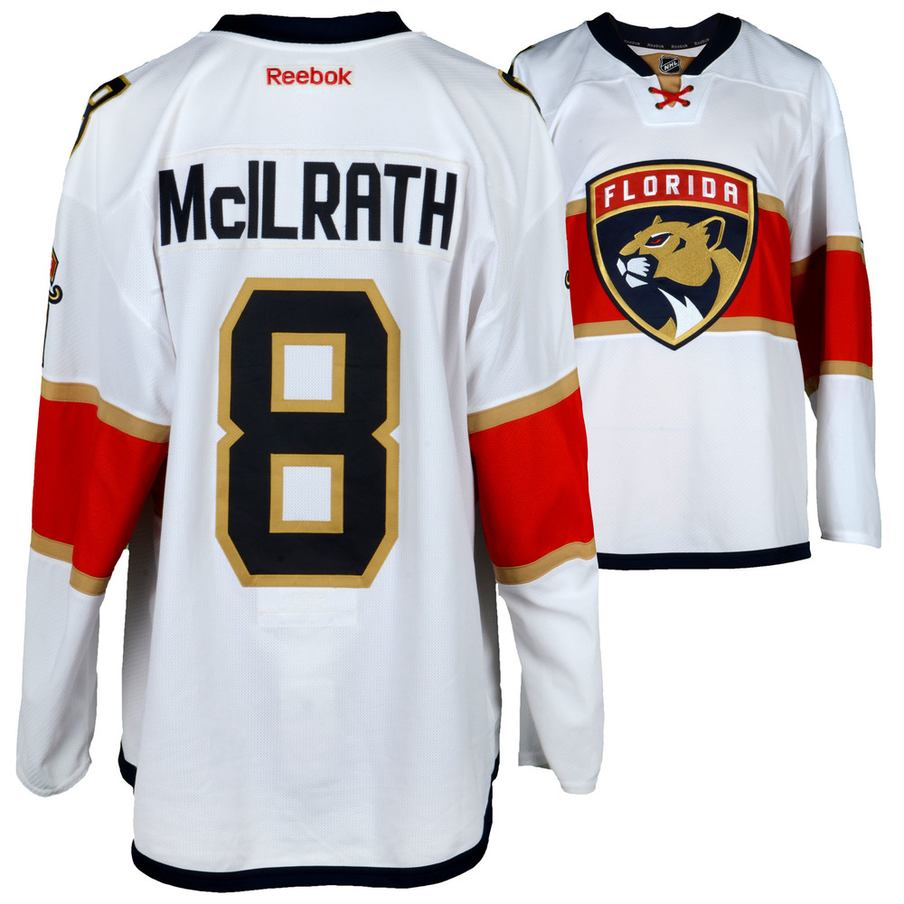 Dylan McIlrath Florida Panthers Game-Used #8 White Set 1 Jersey From The 2016-17 NHL Season - Size 58