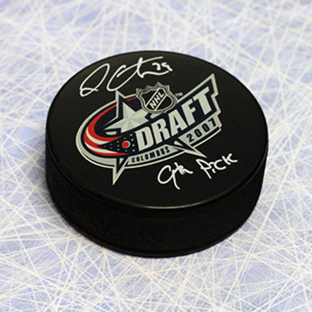Logan Couture Autographed 2007 Draft Day Puck w 9th Pick Inscription *San Jose Sharks*