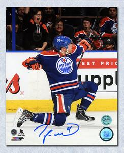 Taylor Hall Edmonton Oilers Autographed Hockey Goal Archer 8x10 Photo