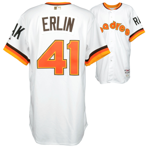 Photo of Robbie Erlin Team-Issued 2014 Padres Throwback Jersey