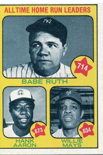 Photo of 1973 Topps #1 Babe Ruth 714/Hank Aaron 673/Willie Mays 654/All-Time Home Run Leaders