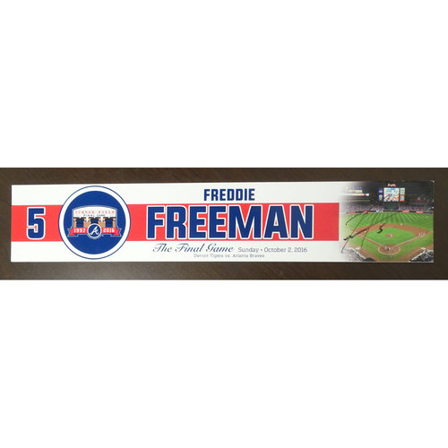 Photo of Freddie Freeman Game-Used and Autographed Locker Nameplate used for the Final Game at Turner Field