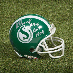 George Reed Saskatchewan Roughriders Autographed Vintage Mini CFL Helmet