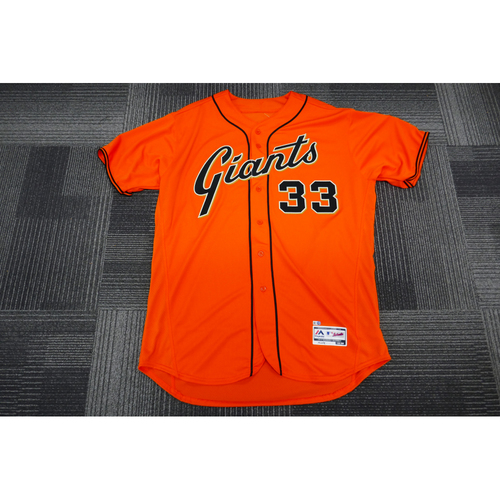 Photo of San Francisco Giants - 2017 Game-Used Orange Alt Jersey - worn by #33 Steve Decker on 9/29/17 - (Size: 52)