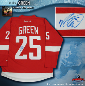 MIKE GREEN Signed Detroit Red Wings Red Reebok Jersey