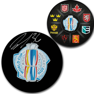 John Gibson Autographed 2016 World Cup of Hockey Puck (Anaheim Ducks)