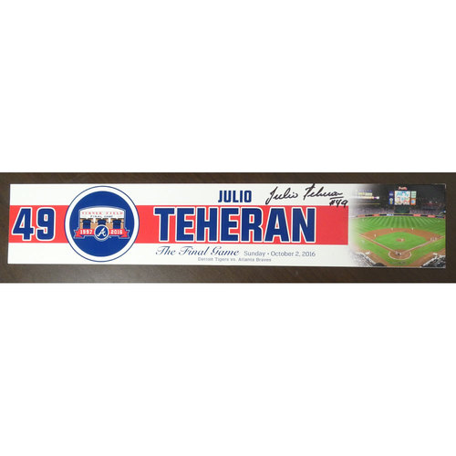 Photo of Julio Teheran Game-Used and Autographed Locker Nameplate used for the Final Game at Turner Field - Starting Pitcher